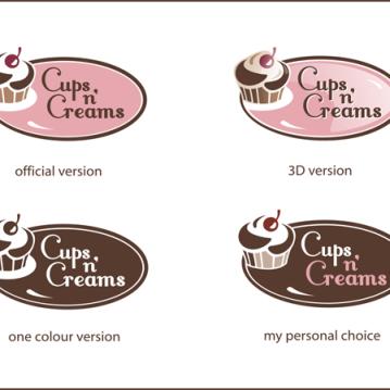 Cups N Creams logo design